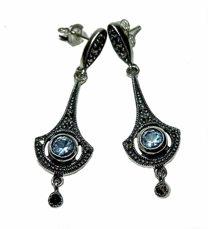 925 Silber Aquamarin Jugendstil Ohrringe mit handgefassten Markasiten