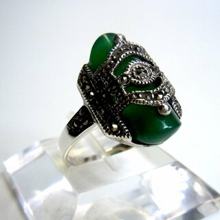 Eleganter Sterling Silber Achat Art Deco Ring mit Markasiten
