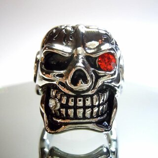 Hammer of Steel - sehr schwerer Totenkop Deadhead Skull Ring Red