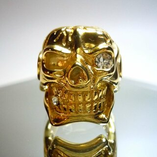 Hammer of Steel - sehr schwerer Totenkop Deadhead Skull Ring GOLD